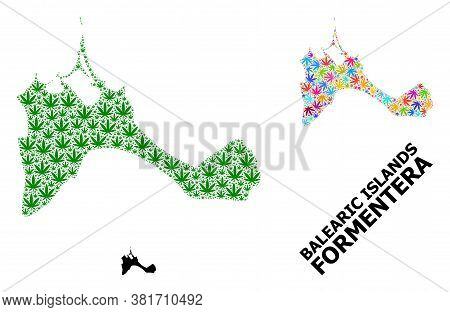 Vector Hemp Mosaic And Solid Map Of Formentera Island. Map Of Formentera Island Vector Mosaic For He