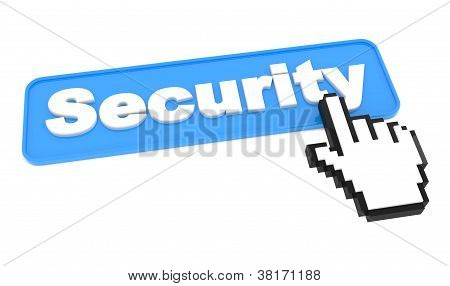 Security Button with Cursor on White.