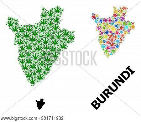 Vector Hemp Mosaic And Solid Map Of Burundi. Map Of Burundi Vector Mosaic For Hemp Legalize Campaign