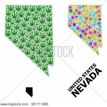 Vector Hemp Mosaic And Solid Map Of Nevada State. Map Of Nevada State Vector Mosaic For Hemp Legaliz