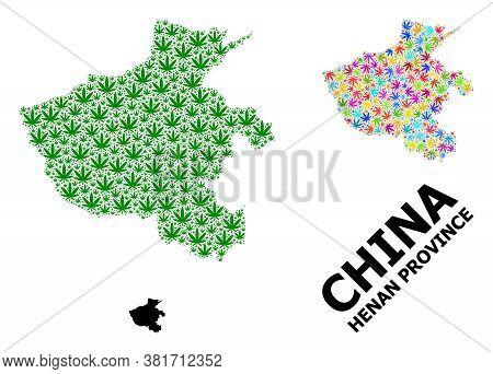 Vector Weed Mosaic And Solid Map Of Henan Province. Map Of Henan Province Vector Mosaic For Weed Leg