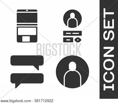Set Create Account Screen, Laptop, Speech Bubble Chat And Create Account Screen Icon. Vector