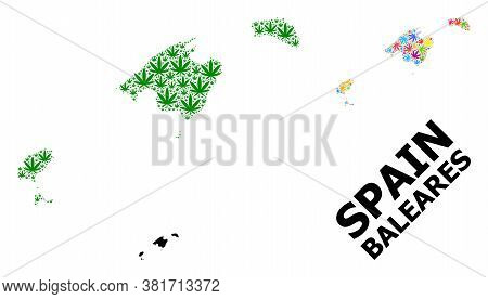Vector Weed Mosaic And Solid Map Of Baleares Province. Map Of Baleares Province Vector Mosaic For We