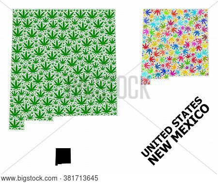 Vector Weed Mosaic And Solid Map Of New Mexico State. Map Of New Mexico State Vector Mosaic For Weed