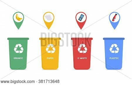 Four Coded Recycling Bins For Segregating Household Waste Into Plastic, Glass, Paper And Organics, C