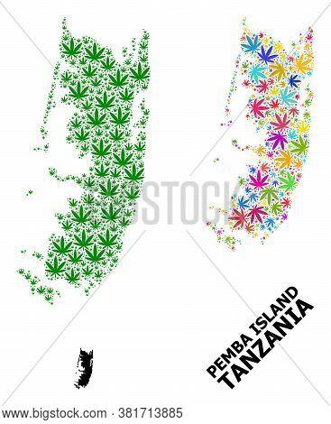 Vector Hemp Mosaic And Solid Map Of Pemba Island. Map Of Pemba Island Vector Mosaic For Weed Legaliz