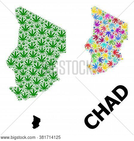 Vector Weed Mosaic And Solid Map Of Chad. Map Of Chad Vector Mosaic For Weed Legalize Campaign. Map