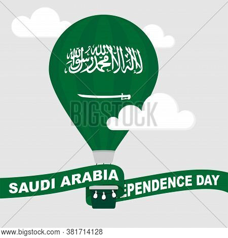 Green Air Balloon With Saudi Arabia Flag And Ribbon For Saudi Arabia Independence Day Design.