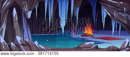 Bonfire In Dark Ice Cave With Snow, Frozen Water And Icy Crystals. Vector Cartoon Winter Landscape W