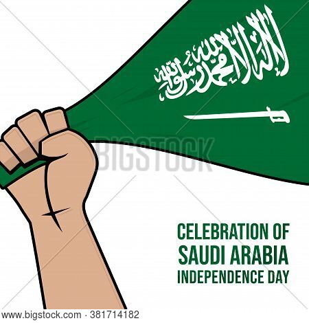 Saudi Arabia Flag In Hand Vector Illustration For Saudi Arabia Independence Day Design.