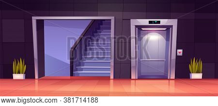 Empty Hallway Interior With Open Elevator Doors And Stairs. Vector Cartoon Illustration Of Office Lo