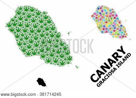 Vector Hemp Mosaic And Solid Map Of Graciosa Island. Map Of Graciosa Island Vector Mosaic For Hemp L