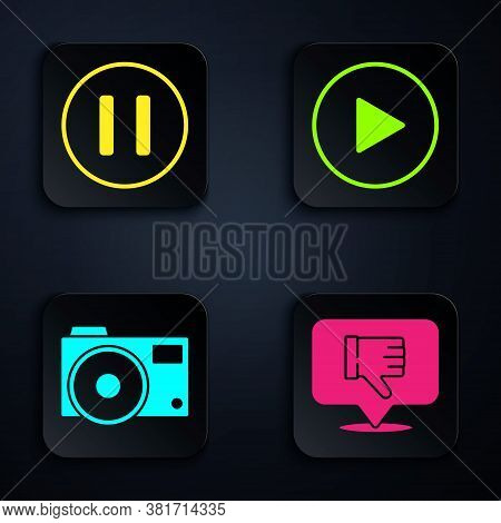 Set Dislike In Speech Bubble, Pause Button, Photo Camera And Play In Circle. Black Square Button. Ve