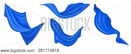 Flying Blue Silk Fabric Isolated On White Background. Vector Realistic Set Of Billowing Velvet Cloth
