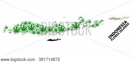 Vector Weed Mosaic And Solid Map Of Indonesia - Flores Islands. Map Of Indonesia - Flores Islands Ve