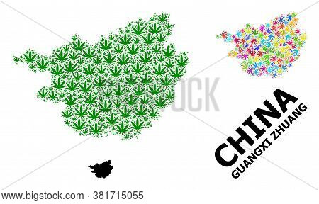 Vector Marijuana Mosaic And Solid Map Of Guangxi Zhuang Region. Map Of Guangxi Zhuang Region Vector