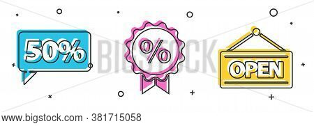 Set Fifty Discount Percent Tag, Discount Percent Tag And Hanging Sign With Open Icon. Vector