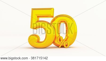 50% Off. Fifty-fifty. Gold Fifty Percent. Gold Fifty Percent On White Background. 3d Render.