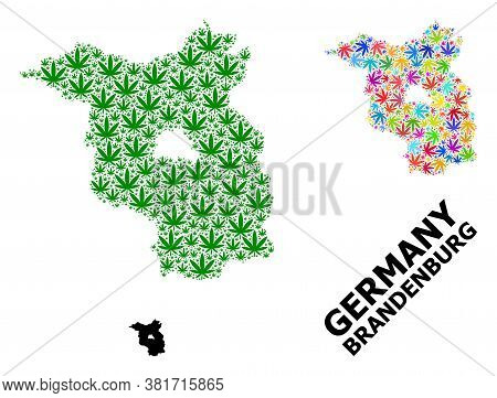 Vector Weed Mosaic And Solid Map Of Brandenburg State. Map Of Brandenburg State Vector Mosaic For Ca