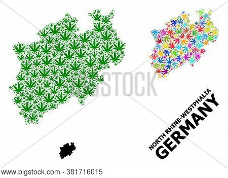 Vector Weed Mosaic And Solid Map Of North Rhine-westphalia State. Map Of North Rhine-westphalia Stat