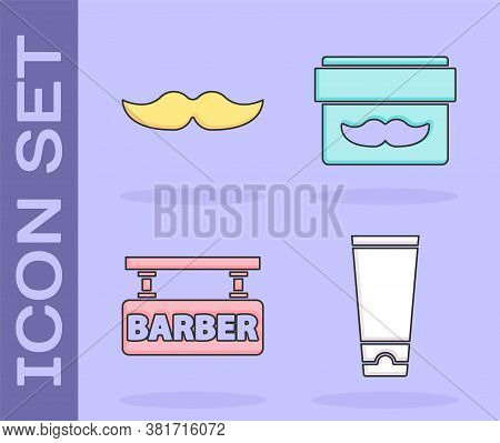 Set Cream Or Lotion Cosmetic Tube, Mustache, Barbershop And Cream Or Lotion Cosmetic Jar Icon. Vecto