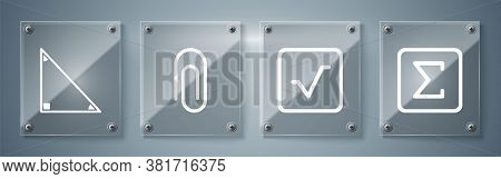 Set Sigma Symbol, Square Root, Paper Clip And Triangle Math. Square Glass Panels. Vector