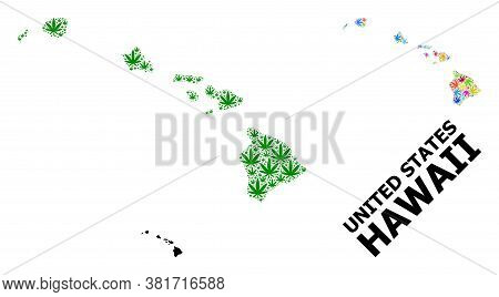 Vector Weed Mosaic And Solid Map Of Hawaii State. Map Of Hawaii State Vector Mosaic For Weed Legaliz