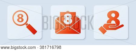 Set Envelope With 8 March, Search 8 March And 8 March On Hand. White Square Button. Vector