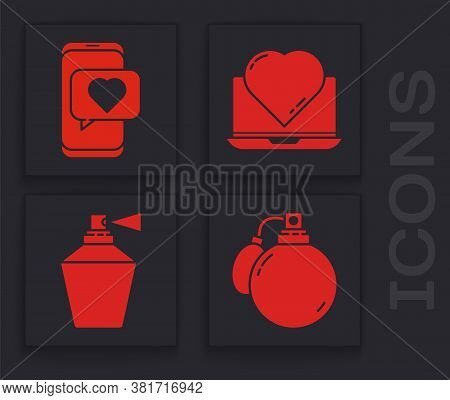 Set Perfume, Online Dating App And Chat, Online Dating App And Chat And Perfume Icon. Vector