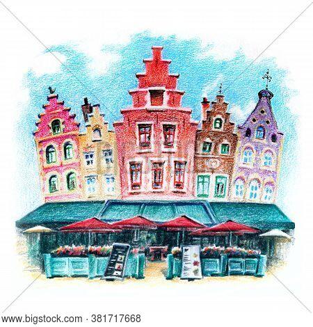 Urban Sketch Of Beautiful Medieval Houses On Grote Markt In Bruges, Belgium, Belgium. Drawing With C