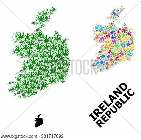 Vector Hemp Mosaic And Solid Map Of Ireland Republic. Map Of Ireland Republic Vector Mosaic For Hemp