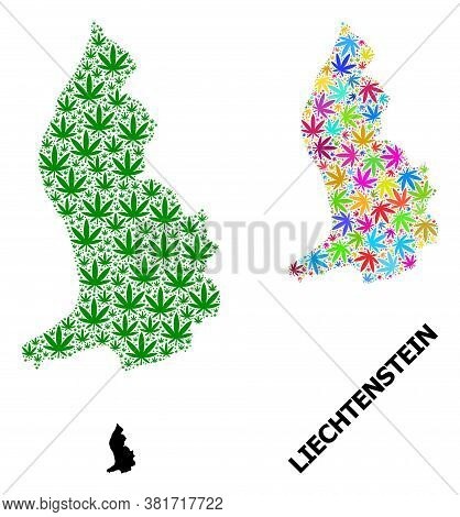 Vector Hemp Mosaic And Solid Map Of Liechtenstein. Map Of Liechtenstein Vector Mosaic For Marijuana