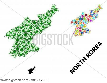 Vector Hemp Mosaic And Solid Map Of North Korea. Map Of North Korea Vector Mosaic For Hemp Legalize