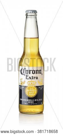 Samara, Russia - August 2020. Product shot of Corona Extra beer bottle isolated on white