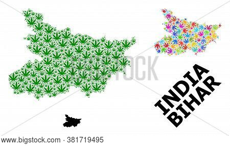 Vector Weed Mosaic And Solid Map Of Bihar State. Map Of Bihar State Vector Mosaic For Weed Legalize
