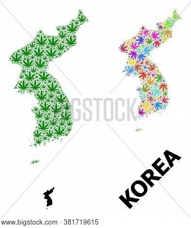 Vector Weed Mosaic And Solid Map Of Korea. Map Of Korea Vector Mosaic For Weed Legalize Campaign. Ma