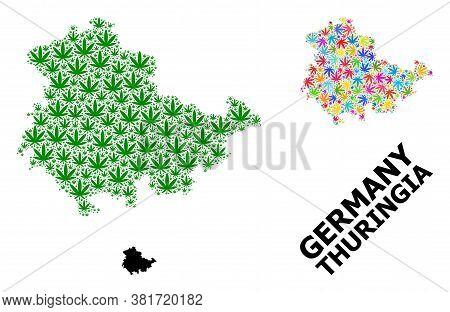 Vector Marijuana Mosaic And Solid Map Of Thuringia State. Map Of Thuringia State Vector Mosaic For M