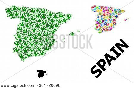 Vector Marijuana Mosaic And Solid Map Of Spain. Map Of Spain Vector Mosaic For Weed Legalize Campaig