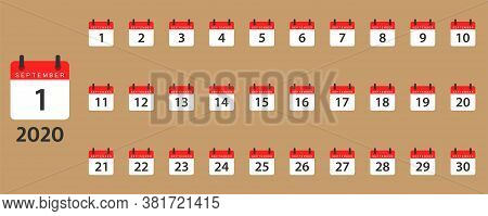 September Calendar Planner. Isolated Month Organizer In Red And White. Days Of Month From 1 To 30. R