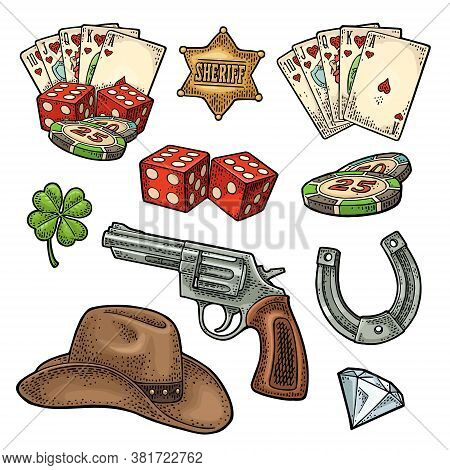 Set With Wild West And Lucky Symbols. Sheriff Star, Revolver, Royal Straight Flush Playing Cards, Ca