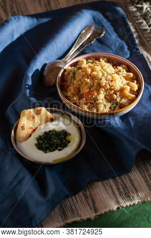 South Indian Breakfast Savory Vegetable Semolina Porridge Rava Upma With Green Mint Chutney And Para