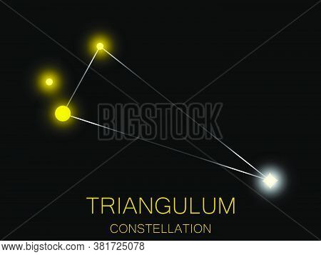 Triangulum Constellation. Bright Yellow Stars In The Night Sky. A Cluster Of Stars In Deep Space, Th