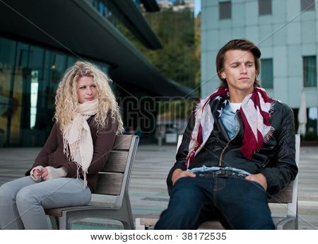 Relationship problems - couple outdoor