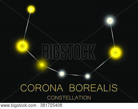 Corona Borealis Constellation. Bright Yellow Stars In The Night Sky. A Cluster Of Stars In Deep Spac
