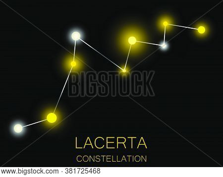 Lacerta Constellation. Bright Yellow Stars In The Night Sky. A Cluster Of Stars In Deep Space, The U
