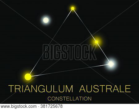 Triangulum Australe Constellation. Bright Yellow Stars In The Night Sky. A Cluster Of Stars In Deep