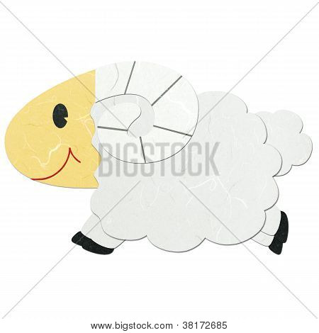 Rice Paper Cut Cute Cartoon Sheep