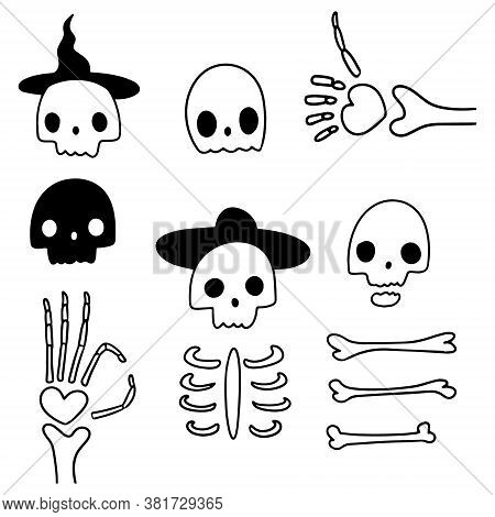 Vector Illustrations Of Simple Skeletons On White Background. Drawn By Hand Halloween Doodle Set Of