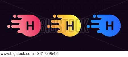 Minimal H Letter Logo With Circle Element. H Letter Design Vector With Dots And Colorful Logo