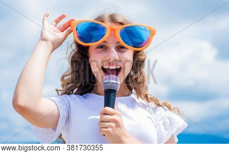 Everything But Music. Singing Songs. Lifestyle And People Concept. Make Your Voice Louder. Teen Girl